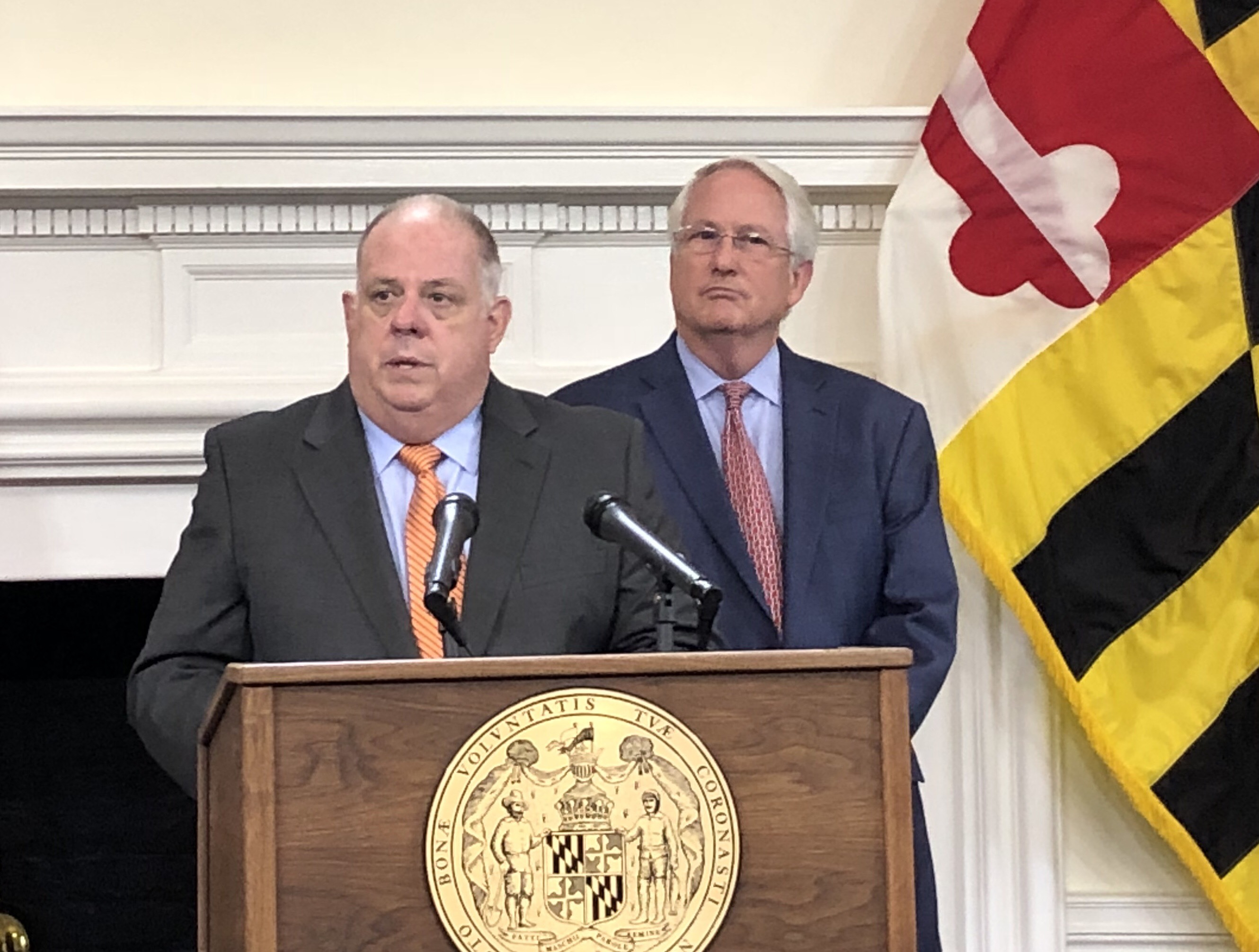 Maryland Gov. Larry Hogan and Maryland Insurance Commissioner Al Redmer announce lower premiums for healthcare plans at a news conference on Friday, Sept. 21, 2018. (Brooks DuBose/Capital News Service)