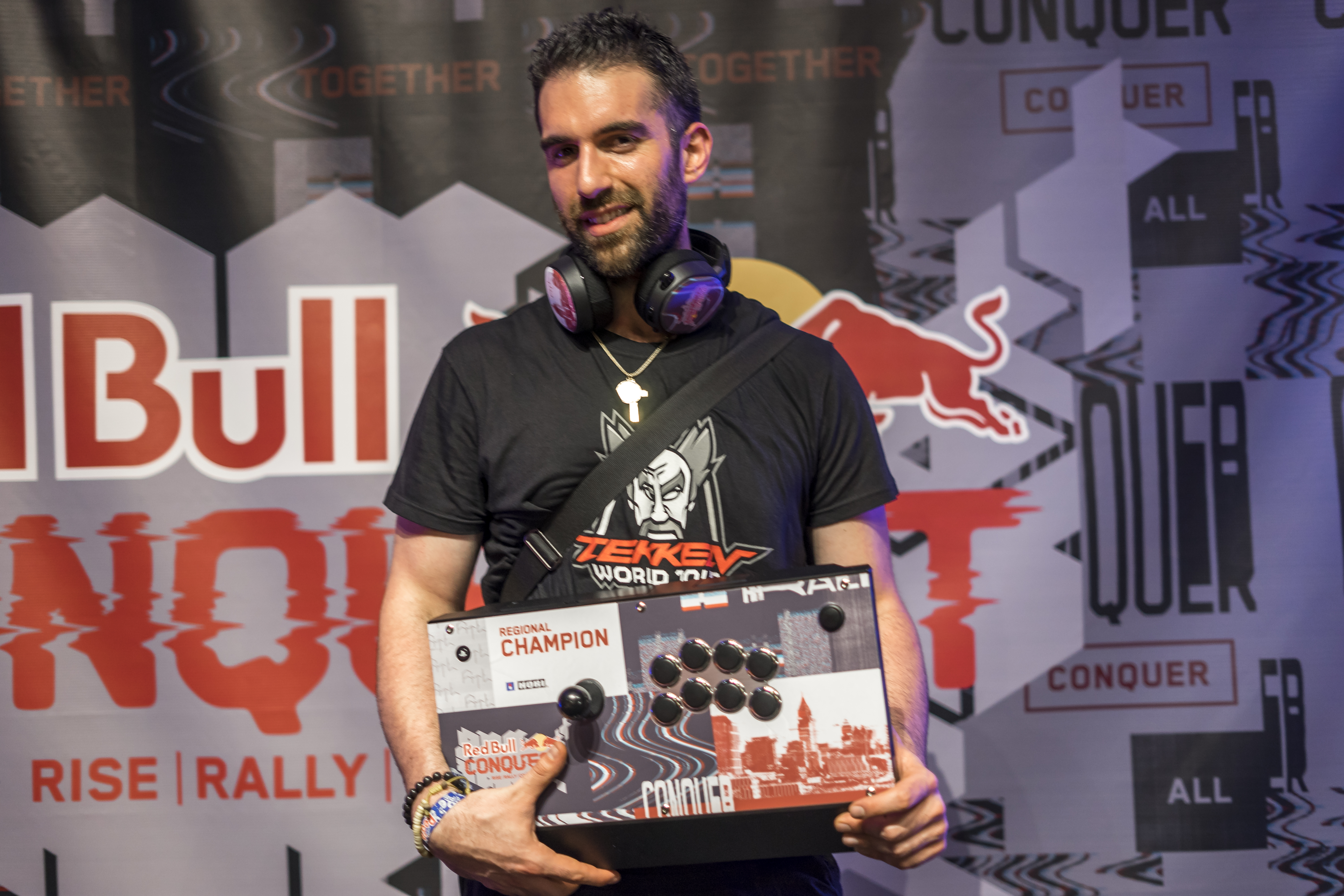 The winner of Tekken poses for a portrait at the Red Bull Conquest Qualifier held at The Garage at Tech Square in Atlanta on Sept. 8, 2018. (Photo courtesy of Red Bull)