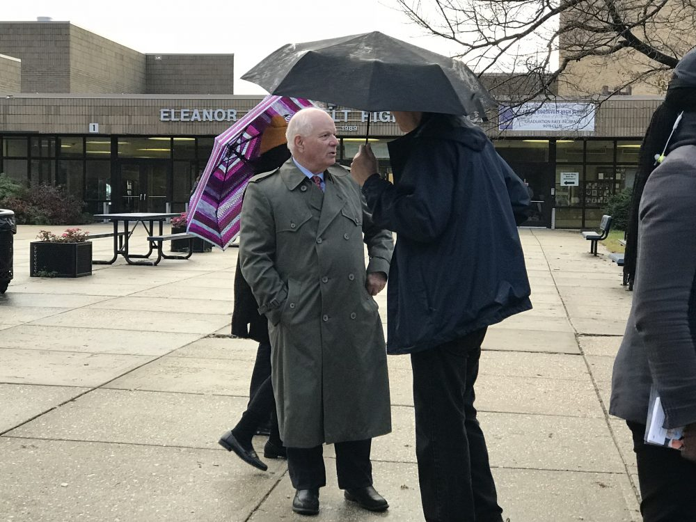 Sen. Ben Cardin speaks to voters at the polls at Eleanor Roosevelt High School. (Jared Goldstein/Capital News Service)