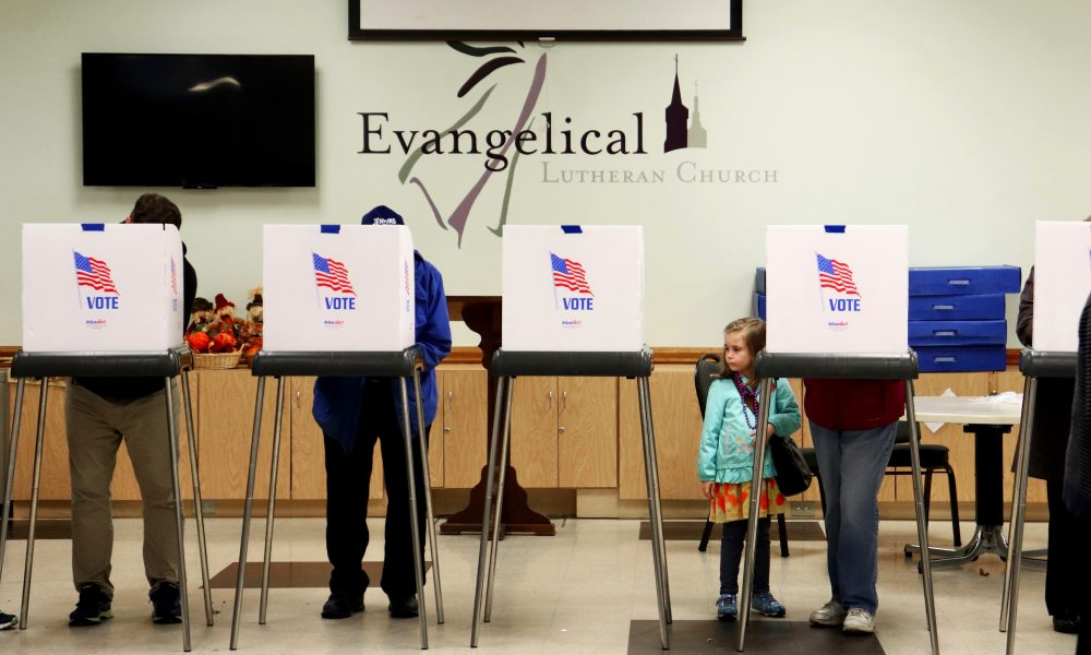 Voters cast ballots at the Evangelical Lutheran Church on Tuesday Nov. 6, 2018 in Frederick Maryland.- (Albane Guichard/Capital News Service)