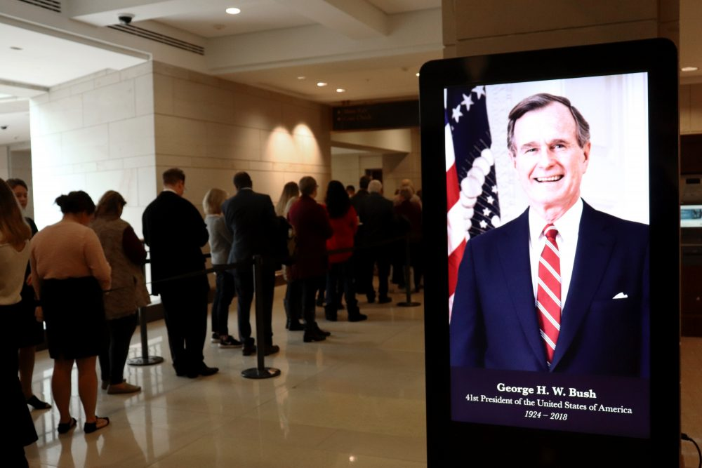 WASHINGTON - The U.S. Capitol Visitor Center displays a photo of the former president (Albane Guichard/Capital News Service)