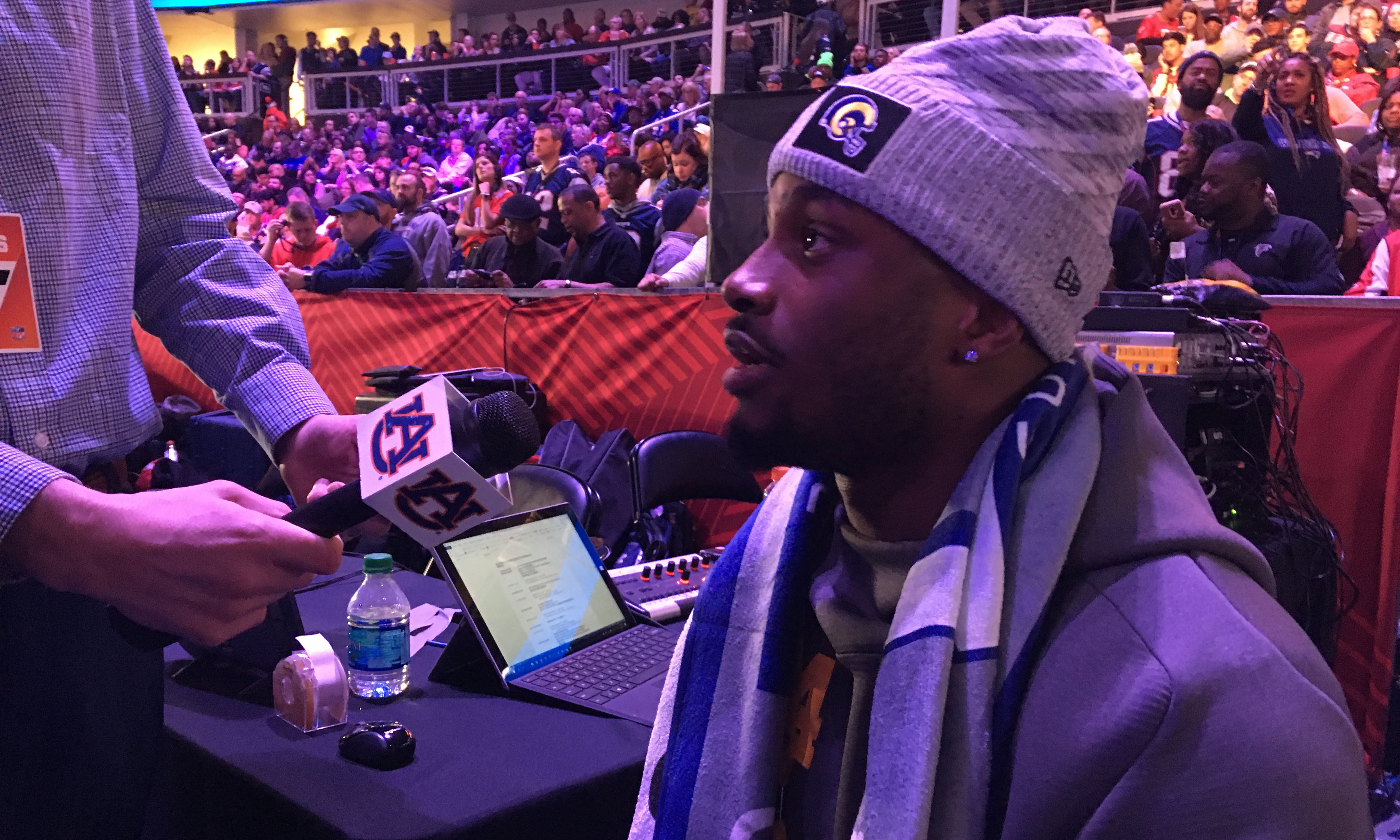 Former Good Counsel standout, current Los Angeles Ram, Blake Countess at Super Bowl media day. Capital News Service photo by James Crabtree-Hannigan
