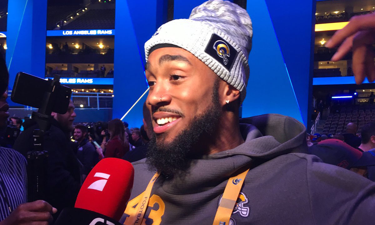 Northwestern High School alumnus and Los Angeles Rams safety John Johnson talks to reporters at Super Bowl media night in Atlanta Monday, Jan. 28. (Photo Credit: James Crabtree-Hannigan/Capital News Service)