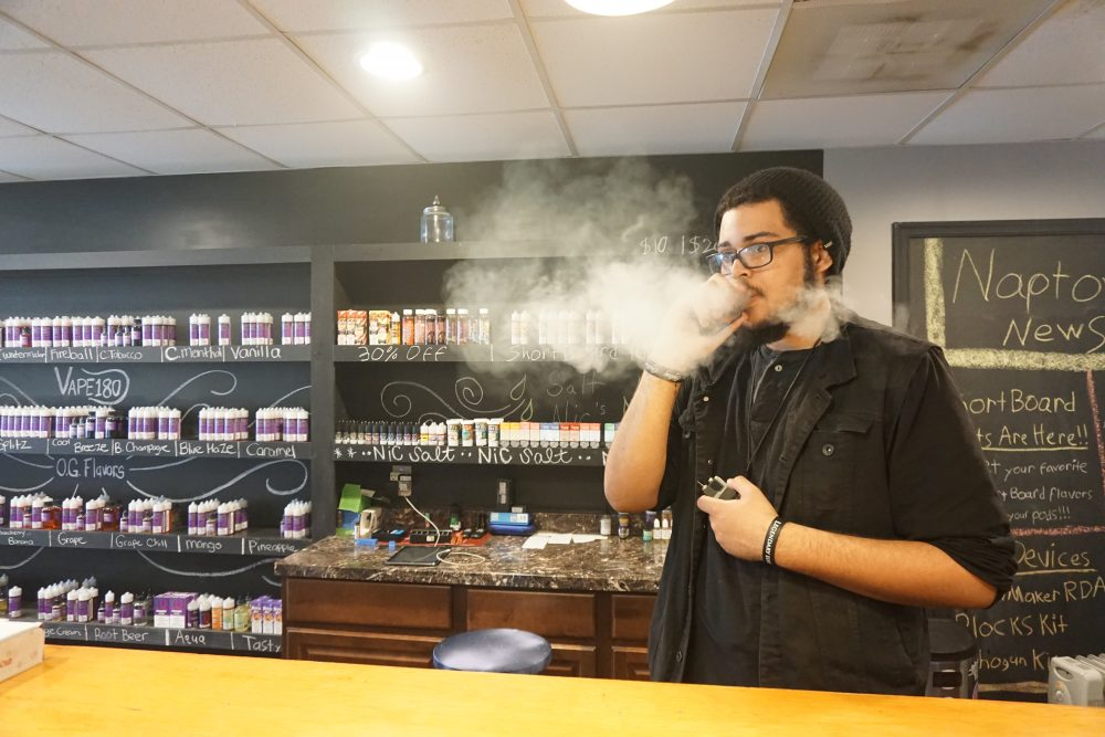 VAPE180 supervisor Devin Farmer said April 11, 2019, he may have to turn some of his customers away once the smoking age is raised, however, he thinks his store in Annapolis, Maryland, should be able to stay in business. Photo by Charlie Youngmann / Capital News Service.