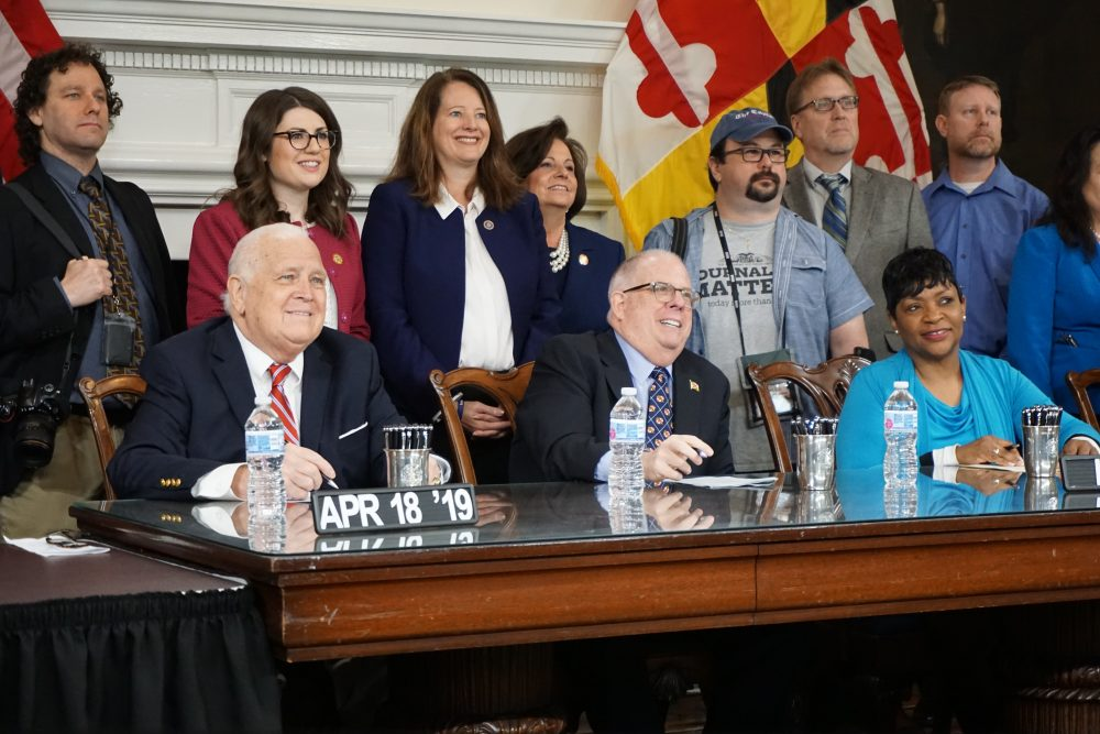 Gov. Larry Hogan signed a bill April 18, 2019 in Annapolis to establish June 28 as Maryland's Freedom of the Press day. Photo by Charlie Youngmann / Capital News Service
