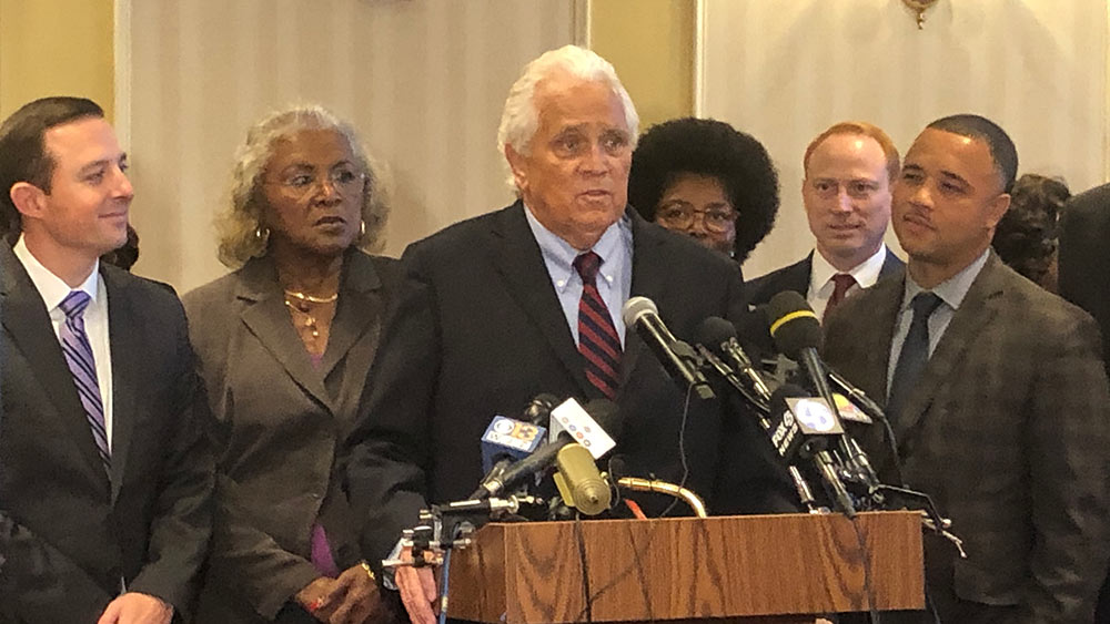 "Maryland Senate President Thomas V. ""Mike"" Miller Jr. announced at a news conference in Annapolis on Oct. 24, 2019, that he will step down as the chamber's leader after more than three decades at the position, while remaining a state senator. (Capital News Service photo by Elliott Davis.)"