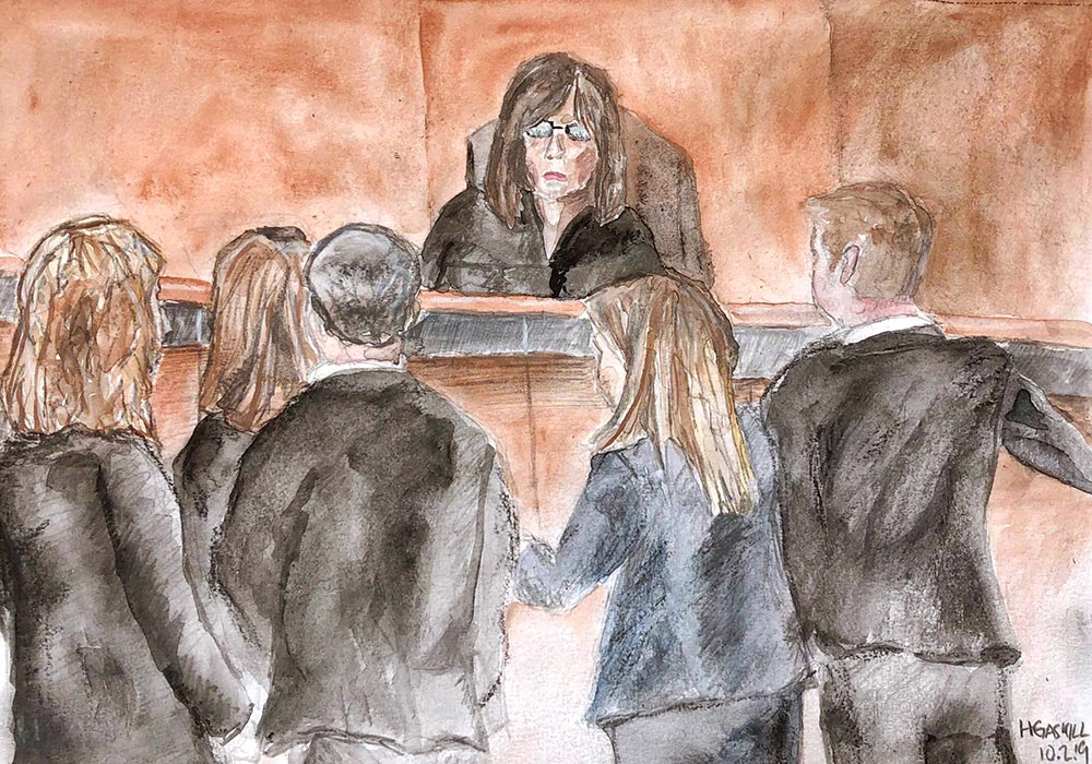 Three attorneys for the defense, at left, and two prosecutors, right, confer at the bench of Judge Laura Ripken, center, on Wednesday, Oct. 2, 2019. The judge ruled later that video from the crime scene would be admissible during the trial, scheduled for November. Drawing by Hannah Gaskill, Capital News Service.