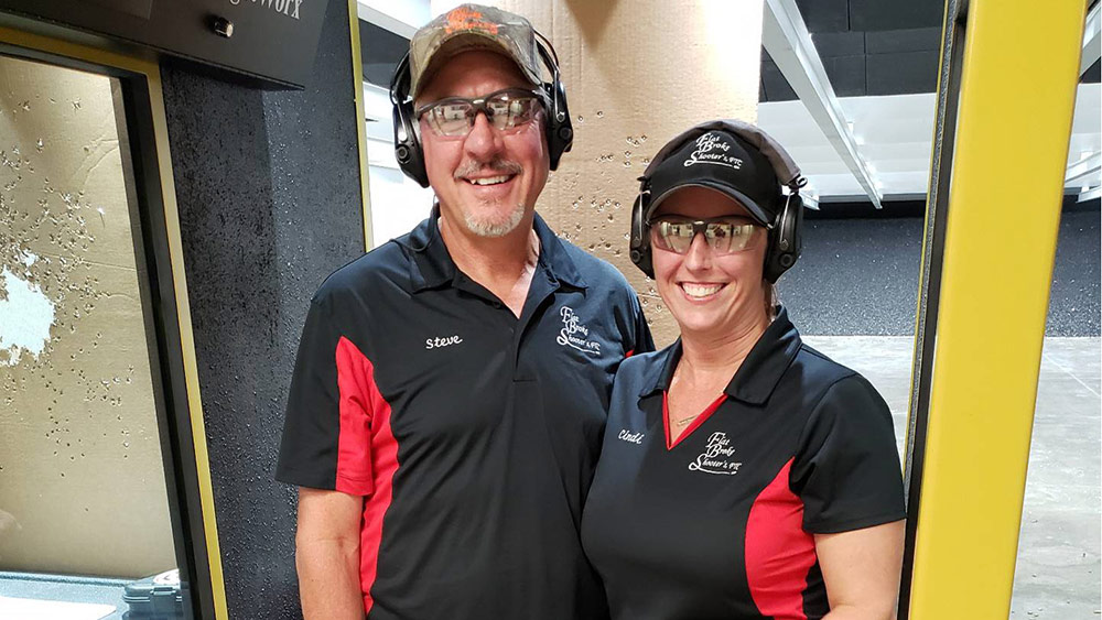 Flat Broke Shooters owners Steve Thomas, left, and Cindi Thomas, right, opened a range on their farm on Aug. 5, 2019. (Courtesy of Steve and Cindi Thomas)