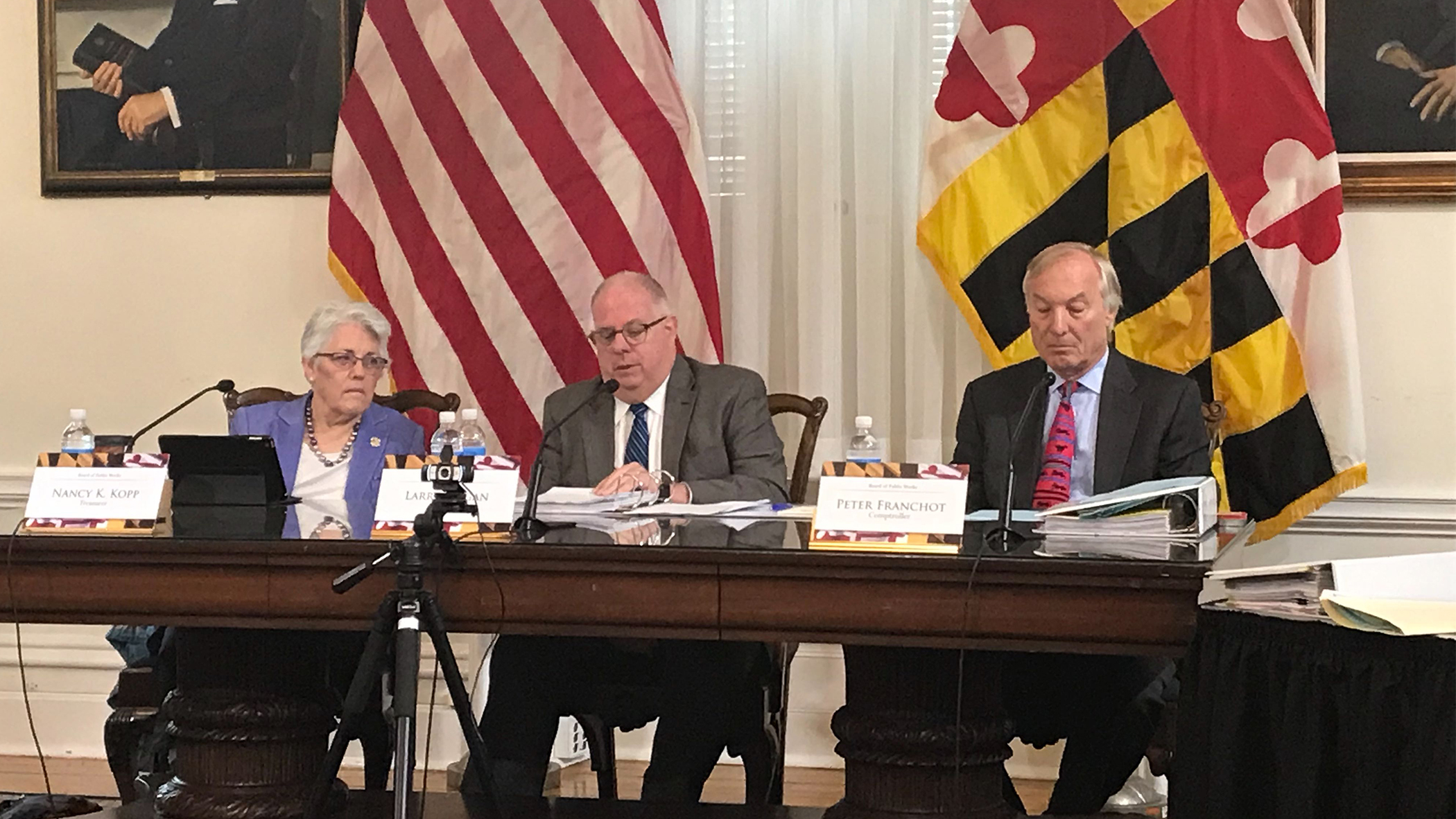 Gov. Larry Hogan spoke about the traffic problems occurring on the Bay Bridge at the Board of Public Works meeting on Wednesday, Oct. 16, 2019. (Photo by Teresa Johnson/Capital News Service)
