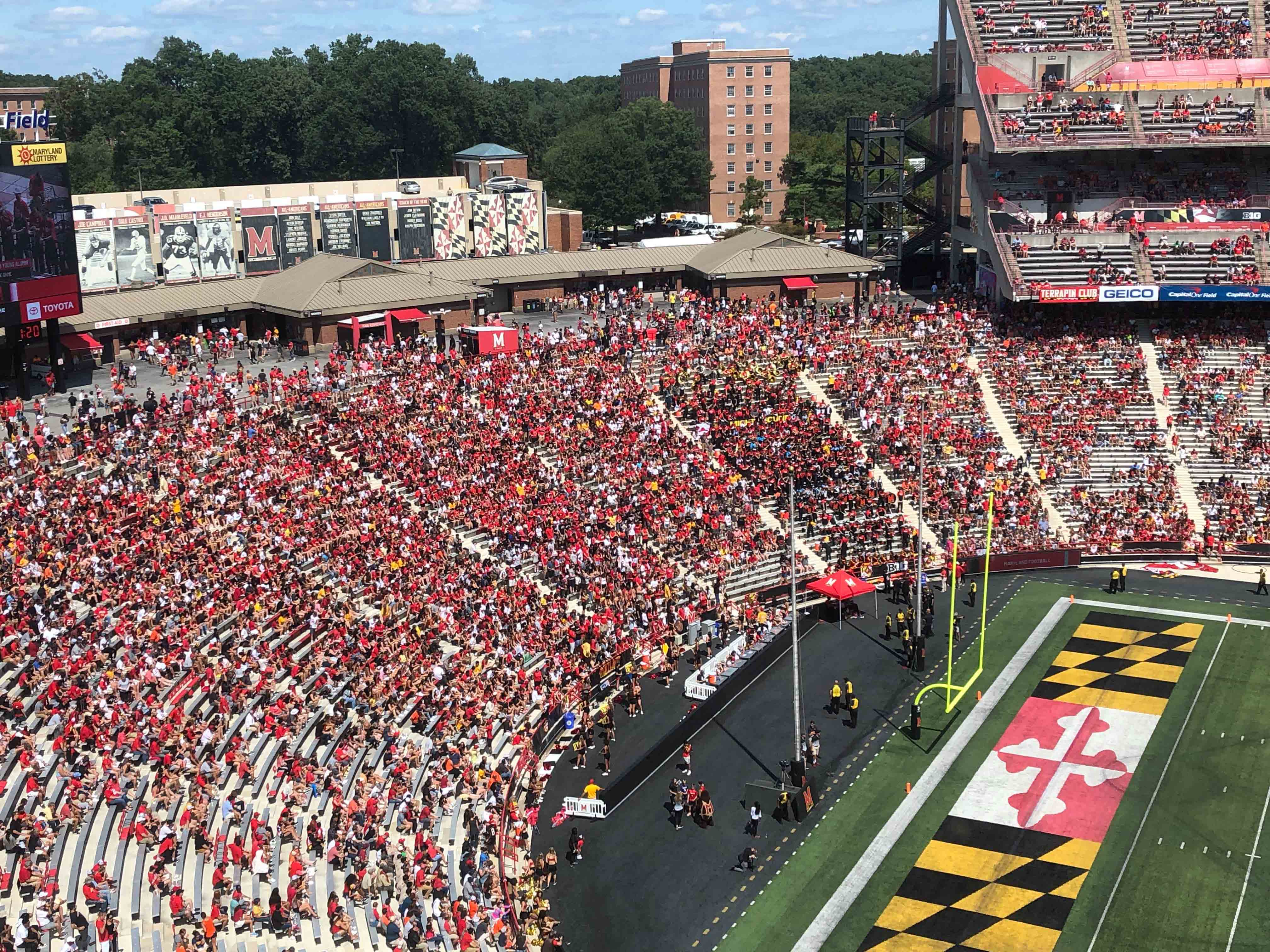 The stands at Maryland stadium are partially full as the Terps football team plays Syracuse on Sept. 7, 2019. As college football attendance has decreased in recent years, NCAA rules have allowed Maryland and other schools to report attendance figures that do not always match the number of fans in the stands.