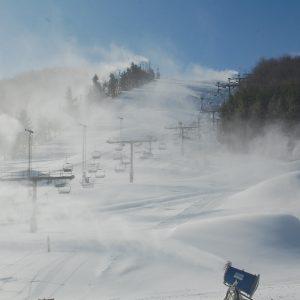 Snow machines at the base mountain of Wisp Ski Resort