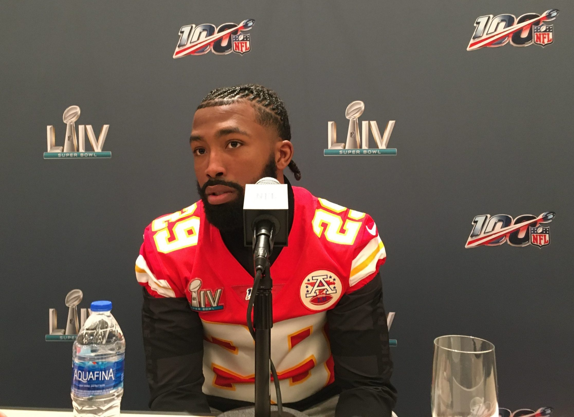 Kendall Fuller speaks with reporters in Miami on Jan. 29, 2020.