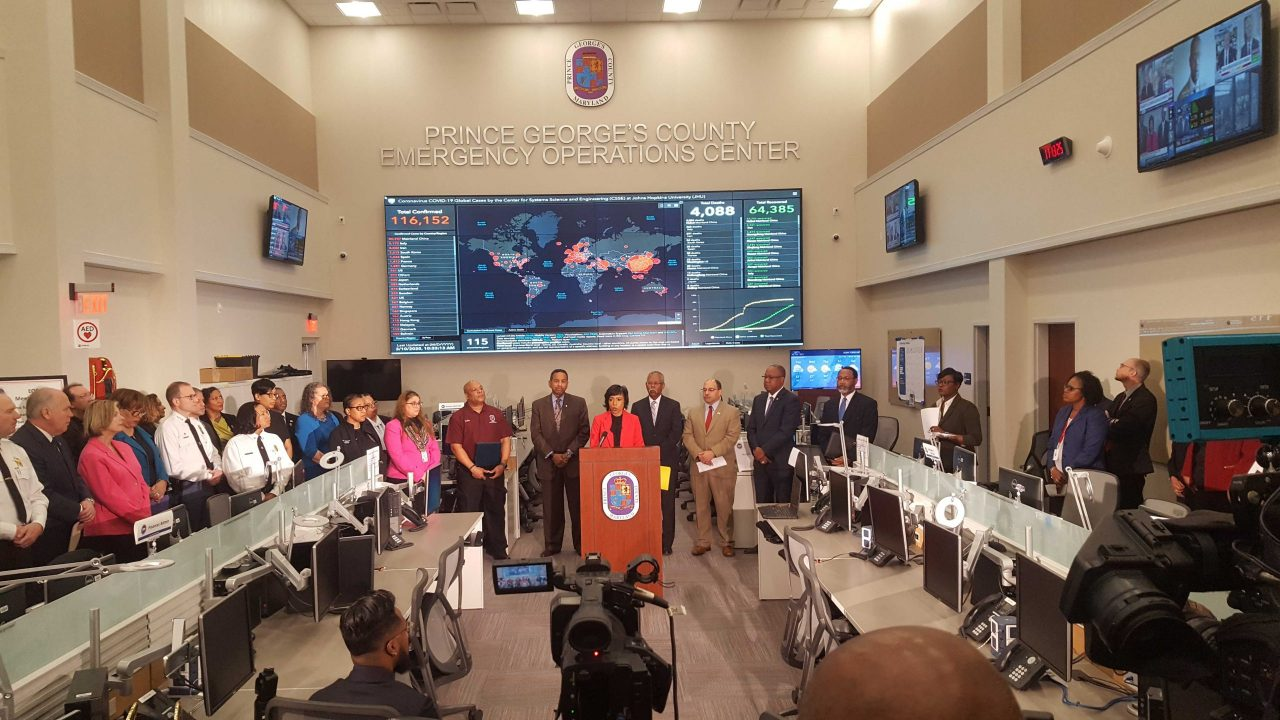 Prince George's County Executive Angela Alsobrooks and members of her staff and cabinet announce three new cases of the novel coronavirus at the Emergency Operations Center in Landover, Maryland, on March 10, 2020. (Hugh Garbrick/Capital News Service.)
