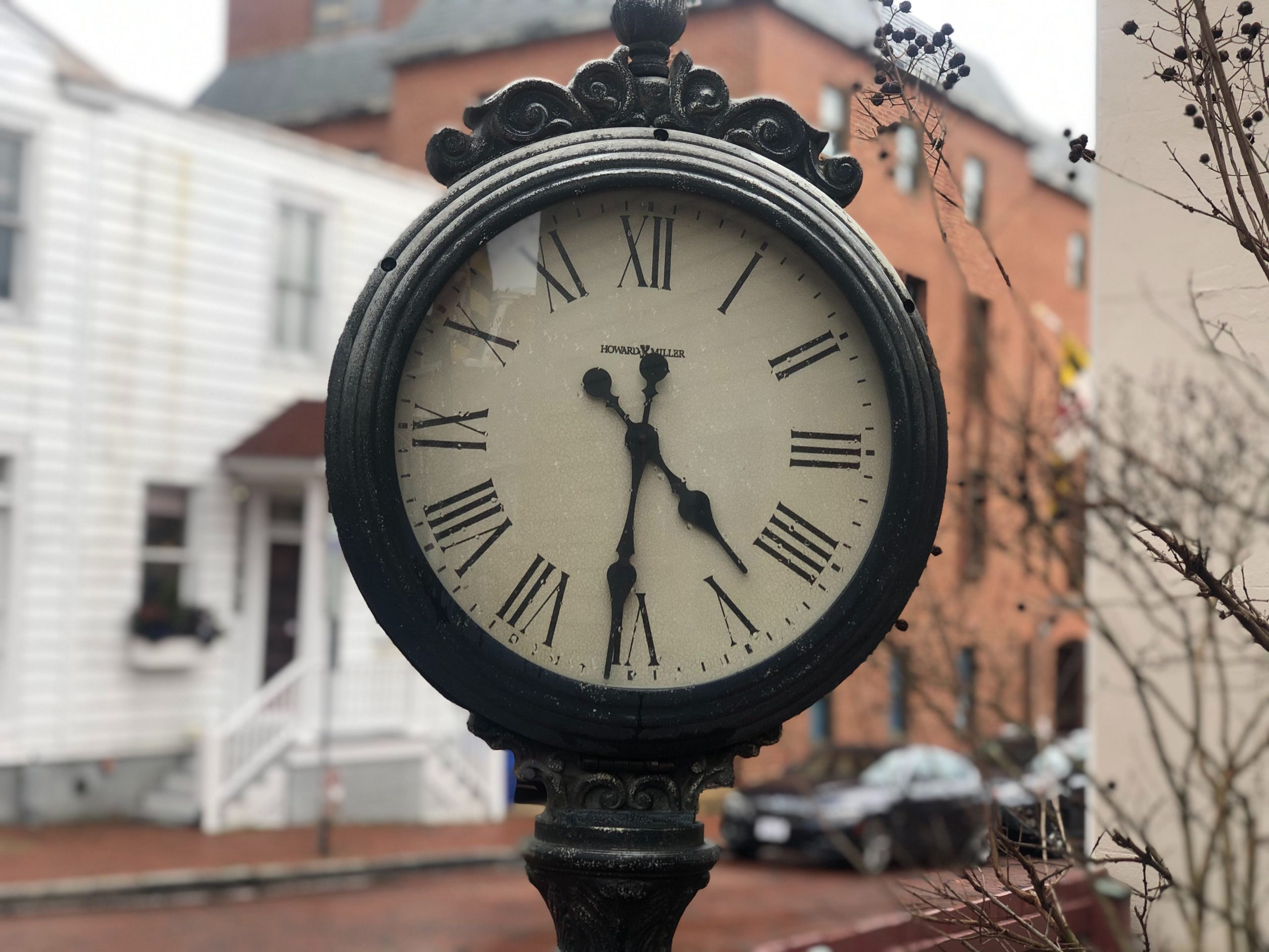 A clock at the corner of State Circle and Francis Street in Annapolis, Maryland, on March 3, 2020. Daylight Saving Time begins on Sunday, March 8, at 2 a.m. (Jeff Barnes/Capital News Service)