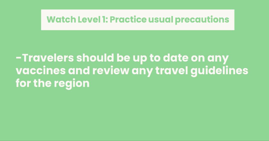 CDC's Travel Advisory for Level 1