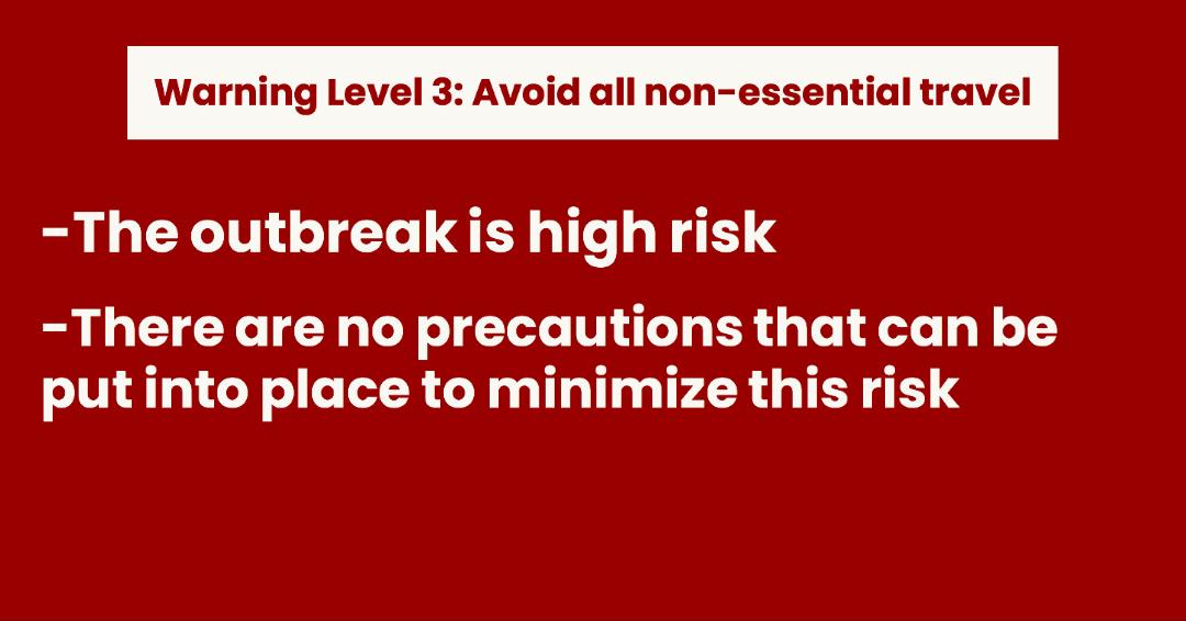 CDC's Level 3 Travel Advisory