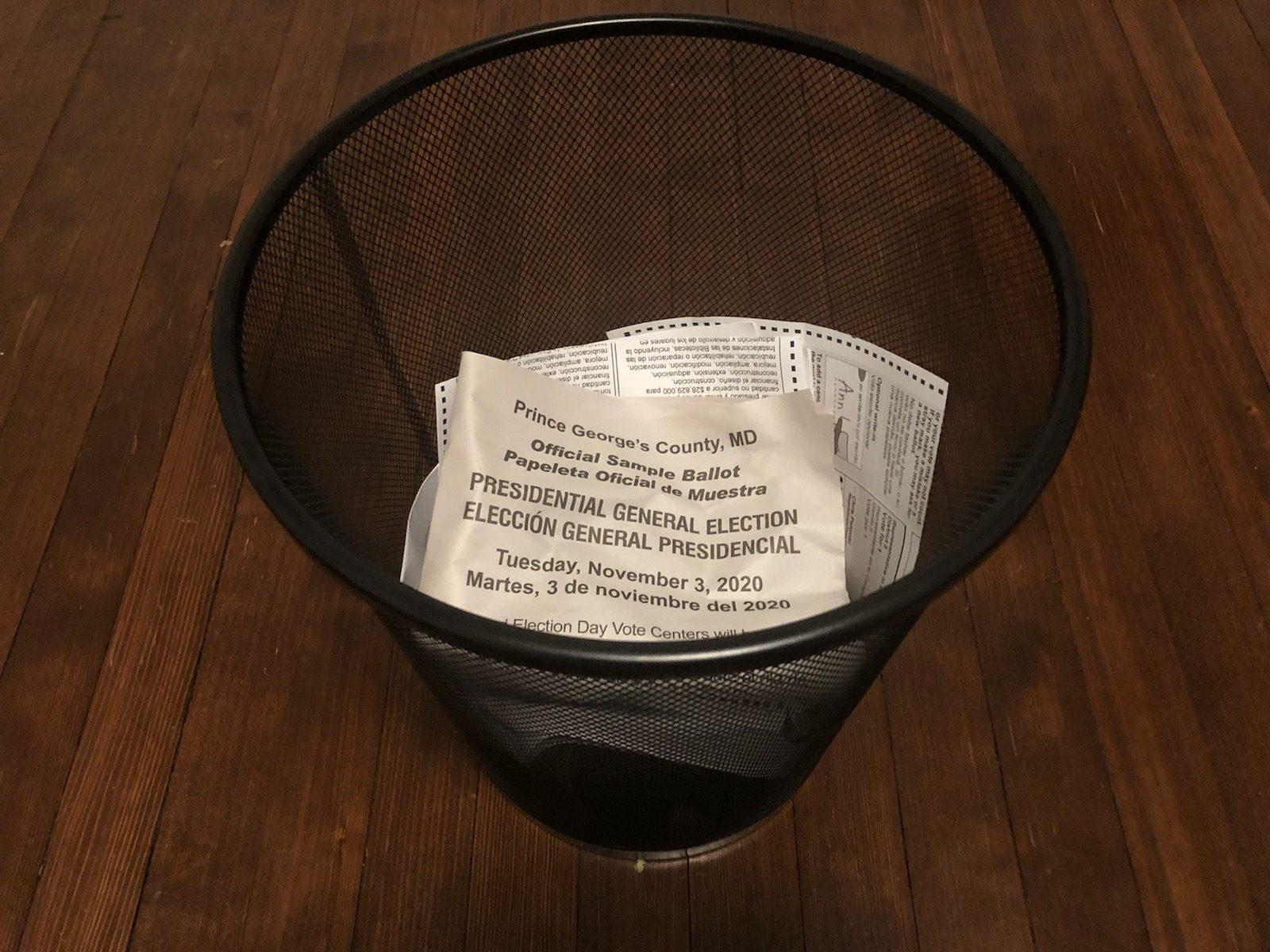 Ballot in a wastebasket