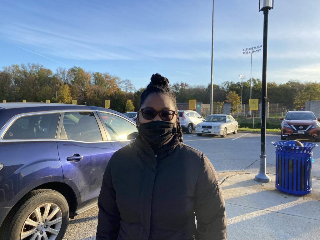 Kelsie Challenger said her vote Tuesday at the Xfinity Center was swayed by the Trump administration's handling of covid-19. (Photo by Gea Ujcic)