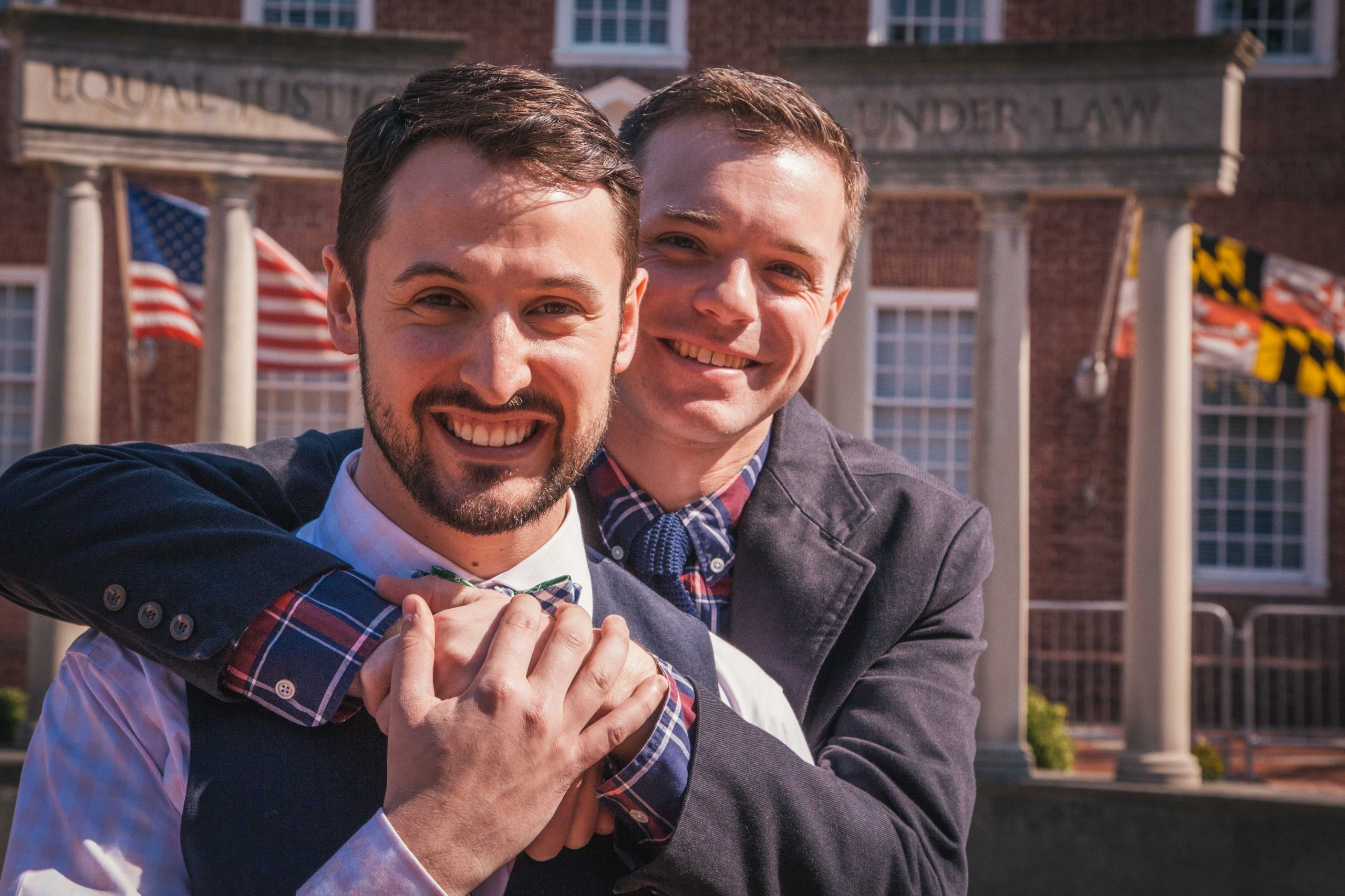 Former College Park City Councilmember PJ Brennan and his husband, Nick, on their wedding day in 2013.