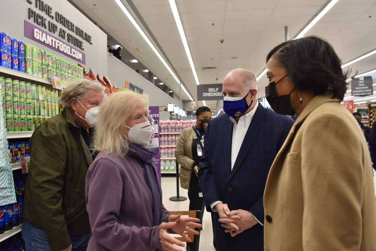 Gov. Larry Hogan and County Executive Angela Alsobrooks (right) meet with patients at a