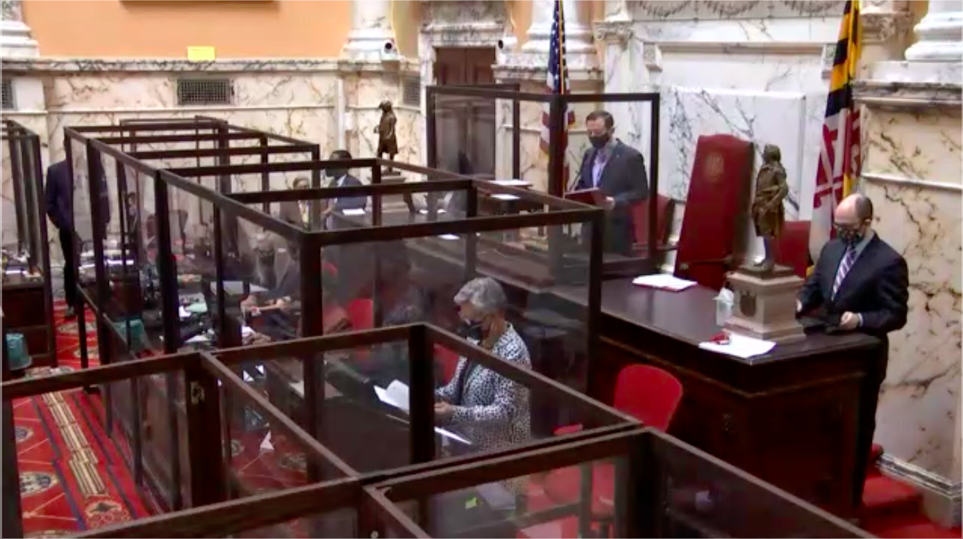 Maryland Senate President Bill Ferguson, D–Baltimore, presides over a Feb. 9, 2021 floor session in which the body overrode four bills Gov. Larry Hogan, R, previously vetoed. ( Screenshot by Jack Hogan / Capital News Service)