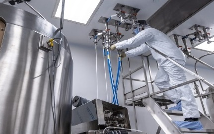 The picture depicts operational execution of a drug substance manufacturing process. (Photo: Emergent BioSolutions)
