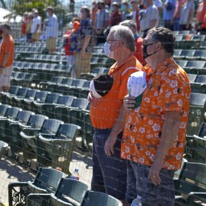 Orioles fans socially distanced in their pod seating and wearing masks at a spring training game in Sarasota, Florida, on March 4. (Photo credit: Baltimore Orioles.
