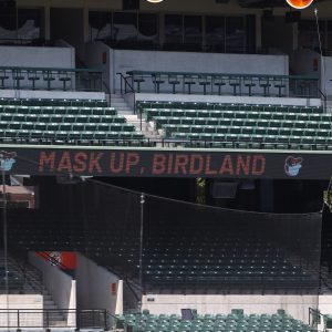 Signage at Camden Yards in Baltimore encourages fans to wear their masks on August 19, 2020. (Photo credit: Baltimore Orioles.)