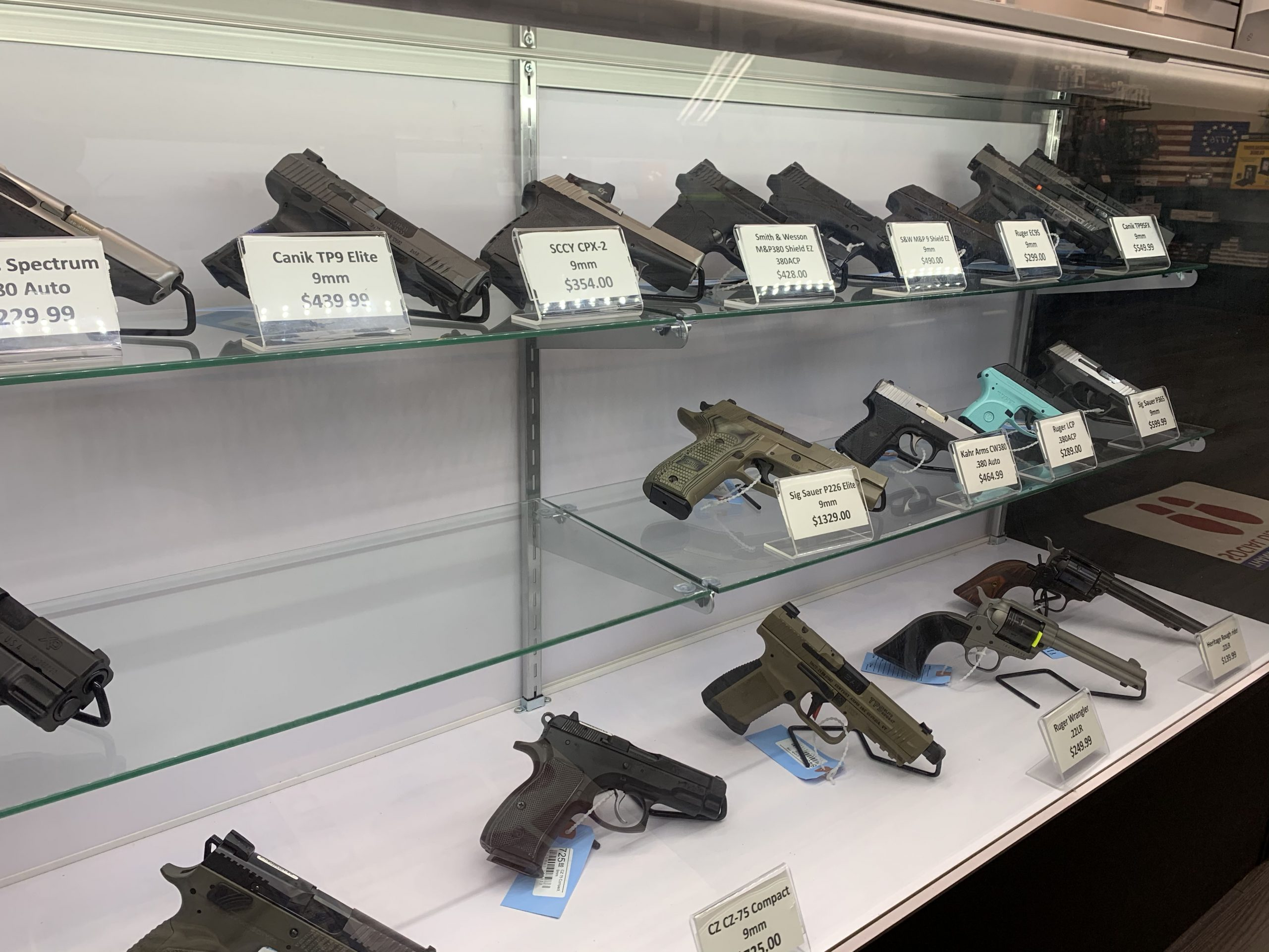 One of the several display cases with some of the handguns available for purchase at United Gun Shop in Rockville, Maryland, in April 2021. (Photo Credit: Jonathan Bennett)