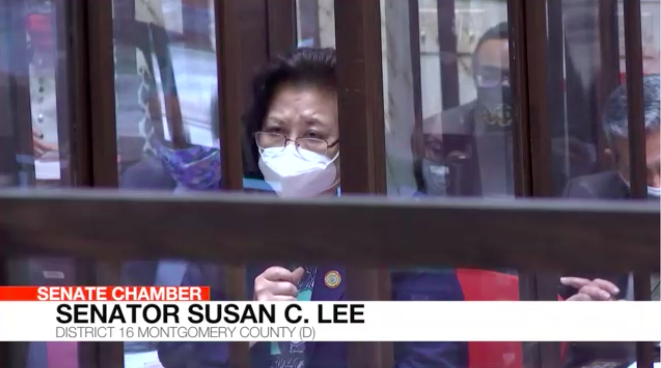 Sen. Susan Lee, D-Montgomery, addresses the Maryland Senate on March 17, the day after a gunman killed eight people, including six women of Asian descent, at three Atlanta-area spas. (Screenshot by Jack Hogan / Capital News Service)
