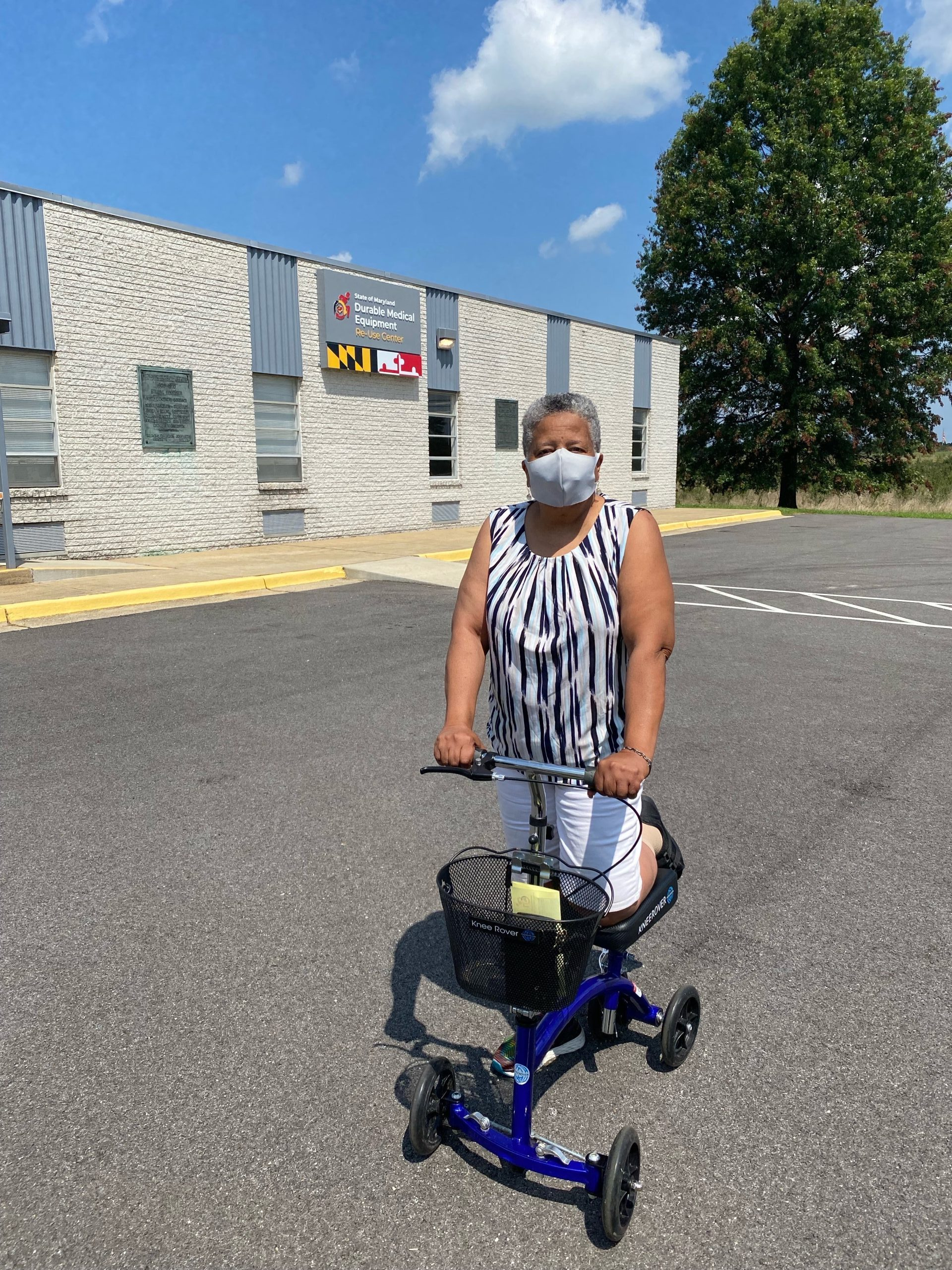 Janice Joyner in front of the Durable Medical Equipment Re-Use Headquarters in Cheltenham, Maryland, on August 27, 2021. Photo courtesy of Program Director Ian Edwards