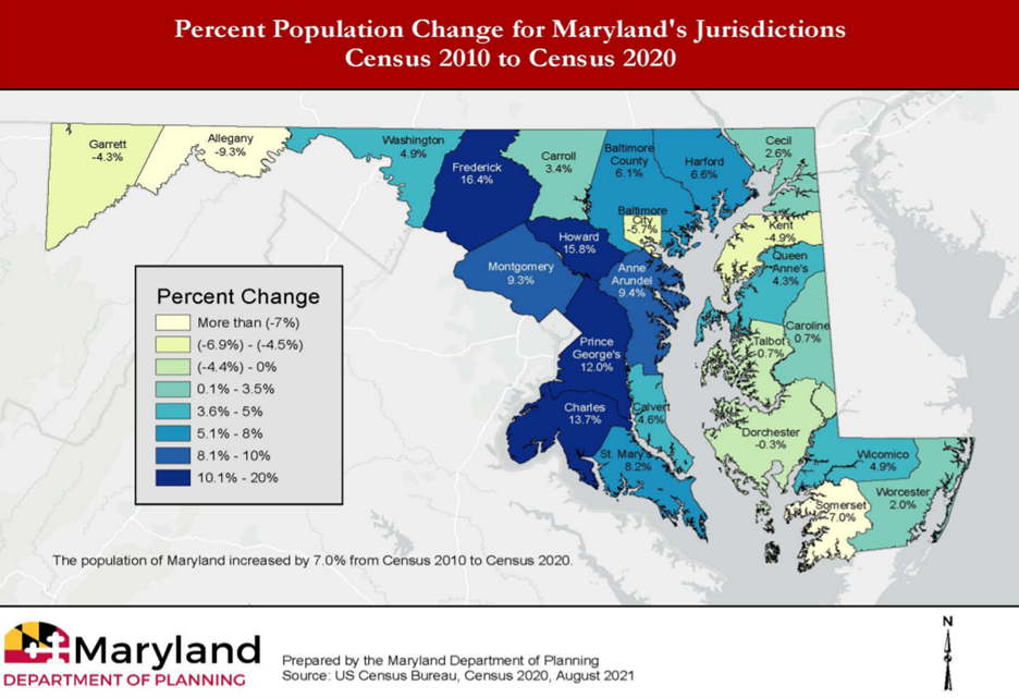 Map showing percent population change in Maryland counties from 2010 to 2020. (Screenshot/Maryland Department of Planning)